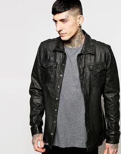 Черная кожаная рубашка‑куртка Goosecraft - Черный
