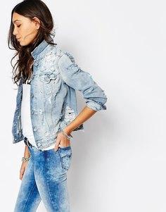 Потертая джинсовая куртка в стиле бойфренд Replay - Синий
