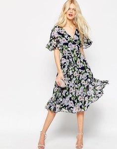 Плиссированное платье миди с запахом и цветочным принтом ASOS - Мульти