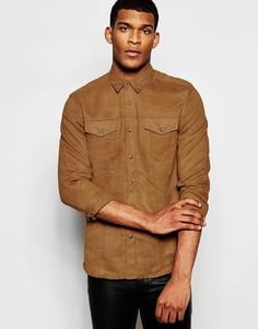 Рубашка классического кроя в стиле вестерн с эффектом замши ASOS - Кэмел