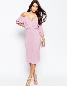 Плиссированное платье миди с вырезами на плечах ASOS - Пыльно-розовый
