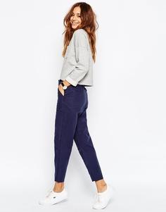 Выбеленные льняные брюки-галифе с драпировкой ASOS - Темно-синий