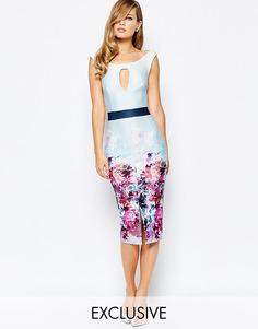 Платье-футляр с цветочным принтом и эффектом омбре True Violet - В разноцветный цветочек