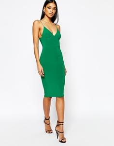 Платье миди на тонких бретельках Club L - Изумрудно-зеленый