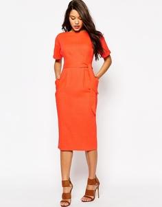 Льняное платье с поясом ASOS - Оранжевый