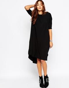 Свободное платье-футболка с закругленной кромкой ASOS - Черный