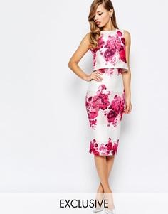 Платье-футляр 2 в 1 с принтом роз True Violet - Розовые розы