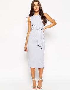 Облегающее платье миди с завязкой сбоку ASOS - Сиреневый