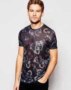 Удлиненная футболка в льняном стиле с цветочным принтом ASOS - Темно-синий