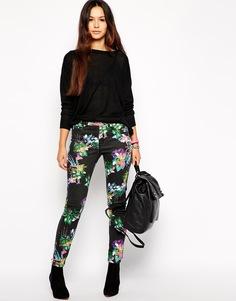 Облегающие джинсы с цветочным узором Insight - Черный