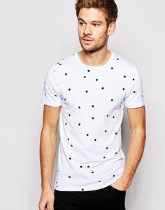Облегающая футболка в горошек ASOS - Белый