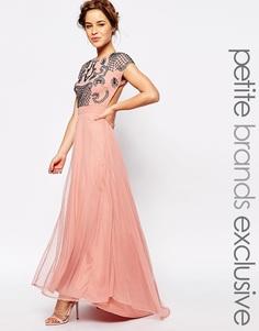 Платье макси с отделкой и открытой спиной Maya Petite - Blush