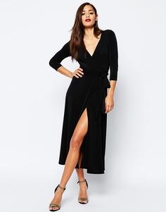 Платье макси из крепа с запахом ASOS - Черный