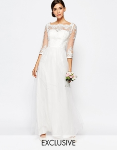 Свадебное кружевное платье макси с вырезом лодочкой и тюлевой юбкой Chi Chi London - Белый