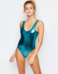Слитный купальник цвета металлик с глубоким вырезом Boohoo Boutique - Marine