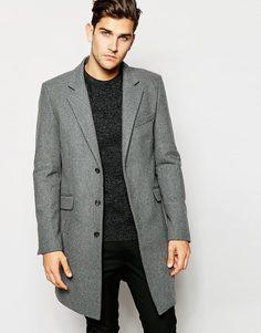 Светло-серое шерстяное пальто ASOS - Светло-серый
