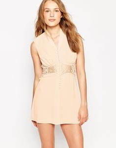 Платье мини с кружевной вставкой Jarlo Siobhan - Кремовый