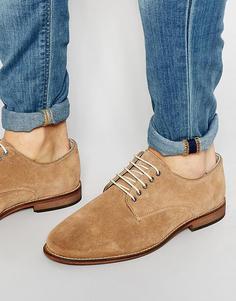 Замшевые туфли-дерби с подошвой натурального цвета ASOS - Stone