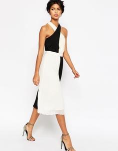 Плиссированное платье миди с перекрестной отделкой ASOS - Черно-белый