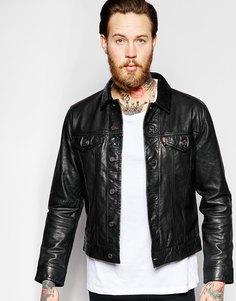 Черная кожаная куртка слим Levi's Premium Goods - Черный Levi's®