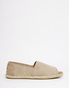Замшевые туфли на плоской подошве с открытым носом TOMS Alpargata - Замша цвета штукатурки