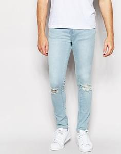 Синие супероблегающие джинсы с рваными коленками Waven Erling - Синяя волна
