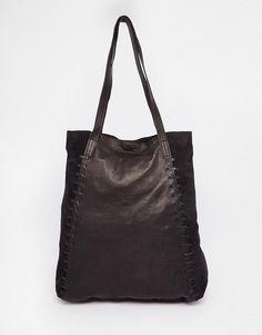 Кожаная сумка-шопер с декоративной строчкой ASOS - Черный