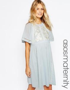 Короткое приталенное платье для беременных с вышивкой и вставкой с дизайном лесенка ASOS Maternity - Синий