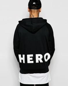 Oversize-худи с принтом на спинке Hero's Heroine - Выбеленный черный