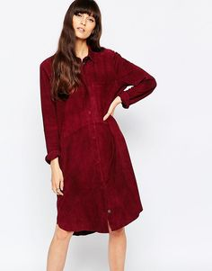 Длинное замшевое платье-рубашка Selected Victoria - Decadent chokolat