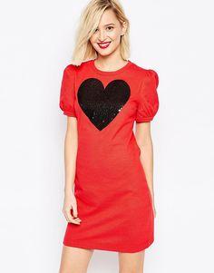Красное платье с пайетками и короткими рукавами Love Moschino - Красный