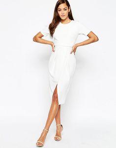 Фактурное двухслойное платье ASOS - Кремовый