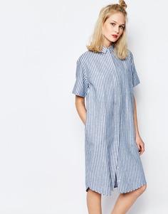 Длинное платье-рубашка в полоску Samsoe & Samsoe Linnes - Синий в полоску Samsøe &; Samsøe