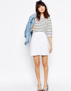 Льняная юбка-трапеция с карманом ASOS - Белый