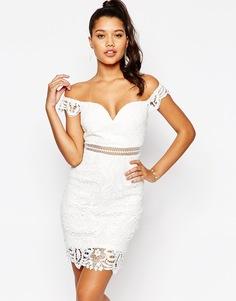 Кружевное платье с открытыми плечами Love Triangle - Белый