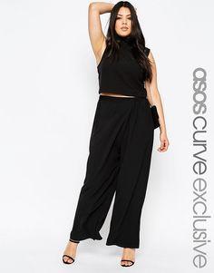 Мягкие брюки с запахом и широкими штанинами ASOS CURVE - Черный