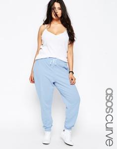 Трикотажные брюки с контрастной завязкой ASOS CURVE - Синий