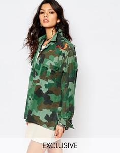 Свободная рубашка-куртка в камуфляжной расцветке со змеей Milk It - Зеленый