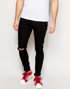 Черные супероблегающие джинсы с рваной коленкой Brooklyn Supply Co - Черный