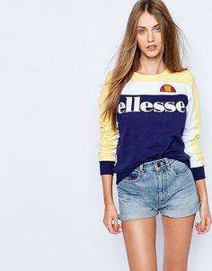 Oversize-свитшот с круглым вырезом и логотипом колор блок Ellesse - Мульти