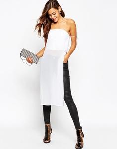 Фактурное платье-бандо с прозрачным верхним слоем макси ASOS - Слоновая кость