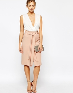 Трикотажная юбка-карандаш с завязкой на талии и разрезом Closet - Nude pink