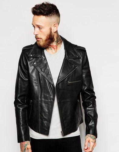 Кожаная байкерская куртка Noose & Monkey - Черный