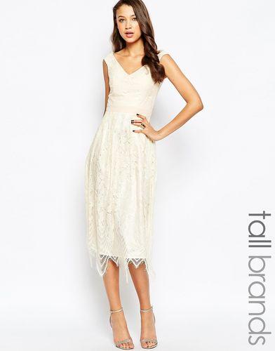 Платье миди для выпускного с фигурной кромкой по подолу Little Mistress Tall - Кремовый