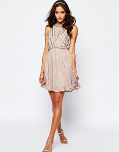 Декорированное платье мини с укороченным топом ASOS - Mink
