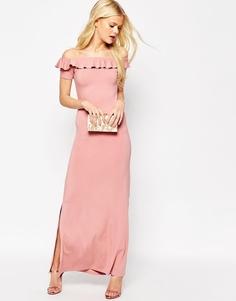 Платье макси с открытыми плечами и оборками ASOS - Пыльно-розовый