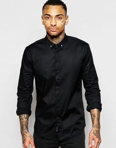 Рубашка классического кроя с уголками на воротнике в виде черепов Religion - Выбеленный черный