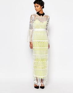 Кружевное платье с рукавами-колокол Self Portrait Art Deco - Белый