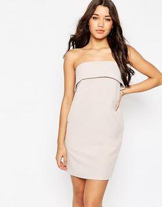 Короткое платье-бандо с отворотом ASOS - Mink