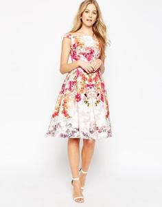 Платье миди для выпускного с открытыми плечами и винтажным цветочным принтом ASOS - Мульти